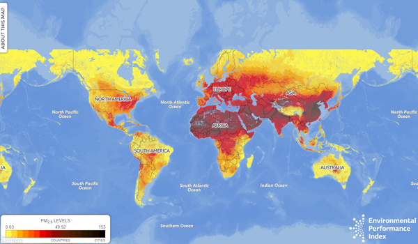 Air quality pm25 world map developed by yale university vfa yale map gumiabroncs Image collections